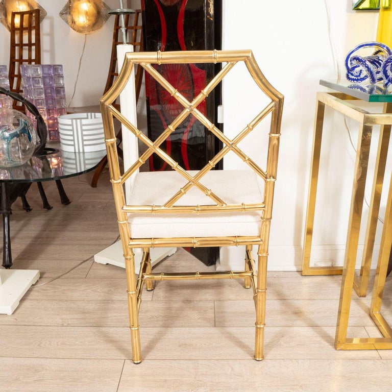 Italian Set of Six Brass Faux Bamboo Chairs For Sale