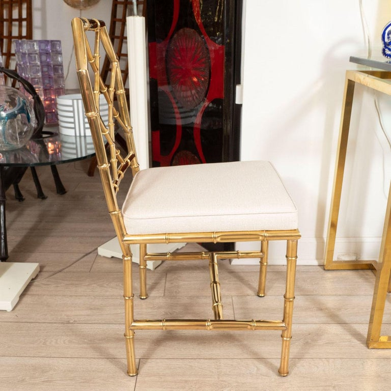 Mid-Century Modern Set of Six Brass Faux Bamboo Chairs For Sale