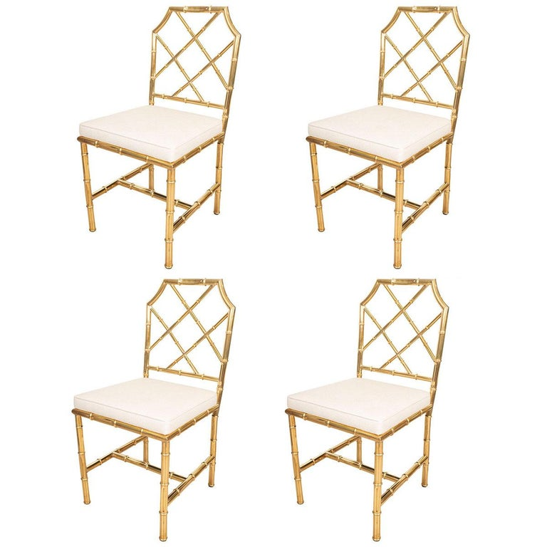 Set of Six Brass Faux Bamboo Chairs For Sale