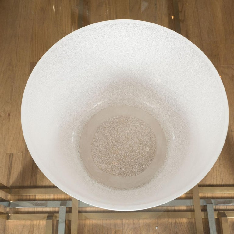 Italian White Scavo Glass Bowl For Sale