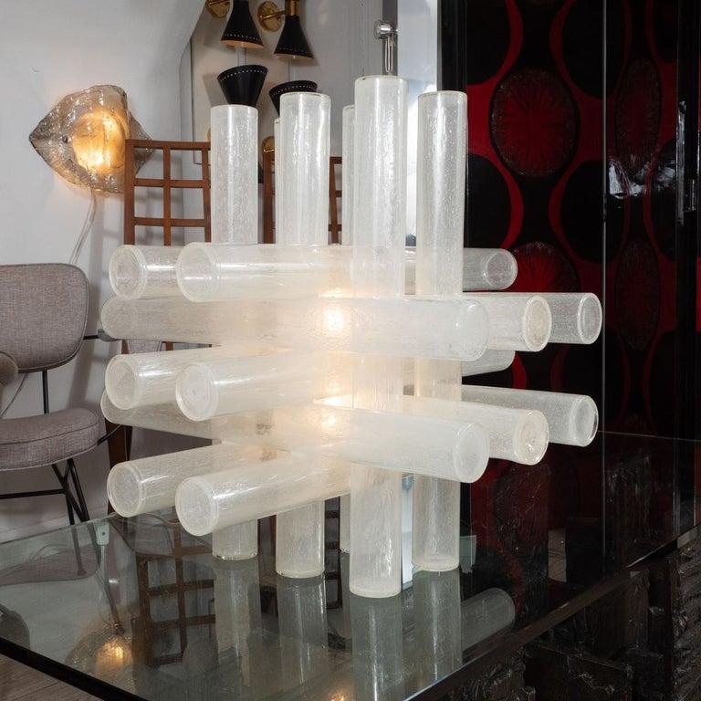 Italian Rare Cubic Crosshatch Murano Glass Tube Table Lamp For Sale