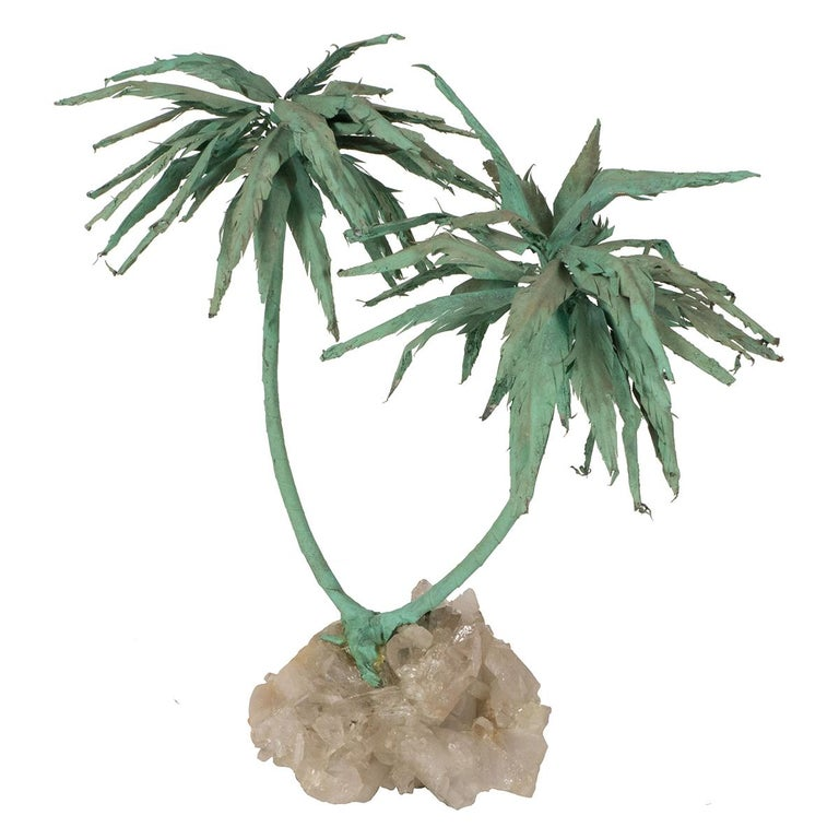 Patinated Palm Tree Sculpture For Sale