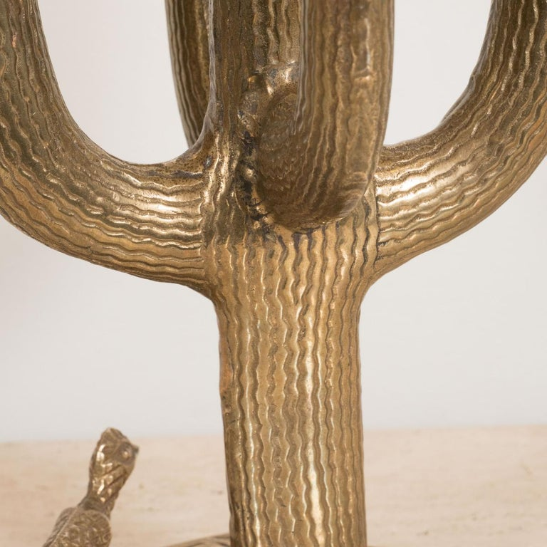 Mid-Century Modern Textured Brass Cactus Sculpture For Sale