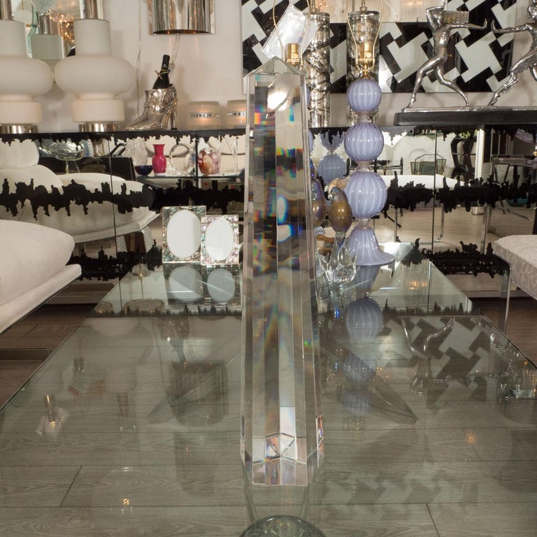 Pair of large faceted clear Murano obelisks.
