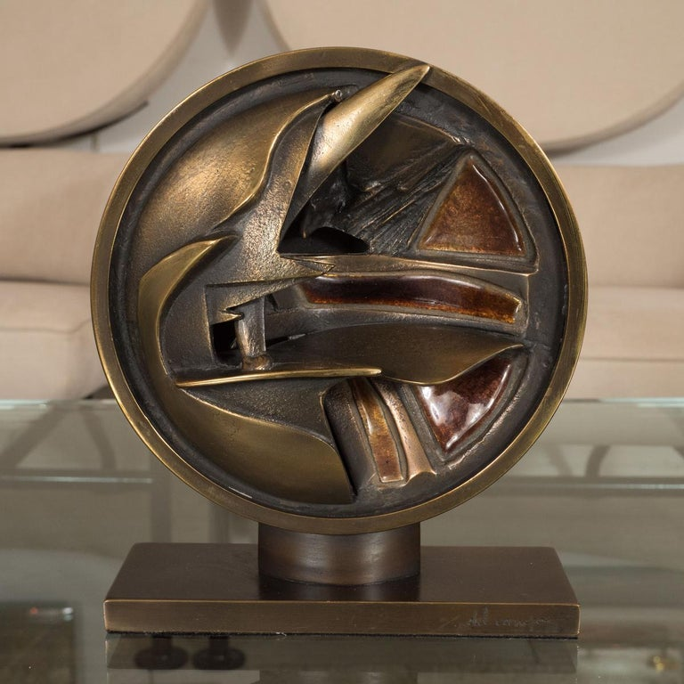 Mid-Century Modern Abstract Bronze and Enamel Sculpture For Sale