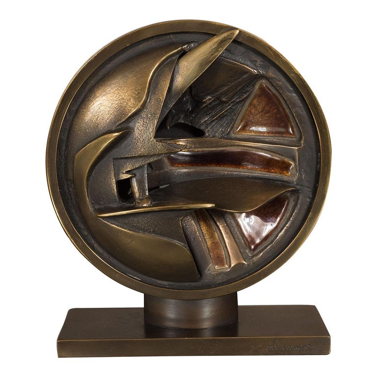 Abstract Bronze and Enamel Sculpture For Sale