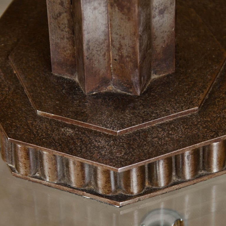 Art Deco Pair of Patinated Iron Candlesticks For Sale