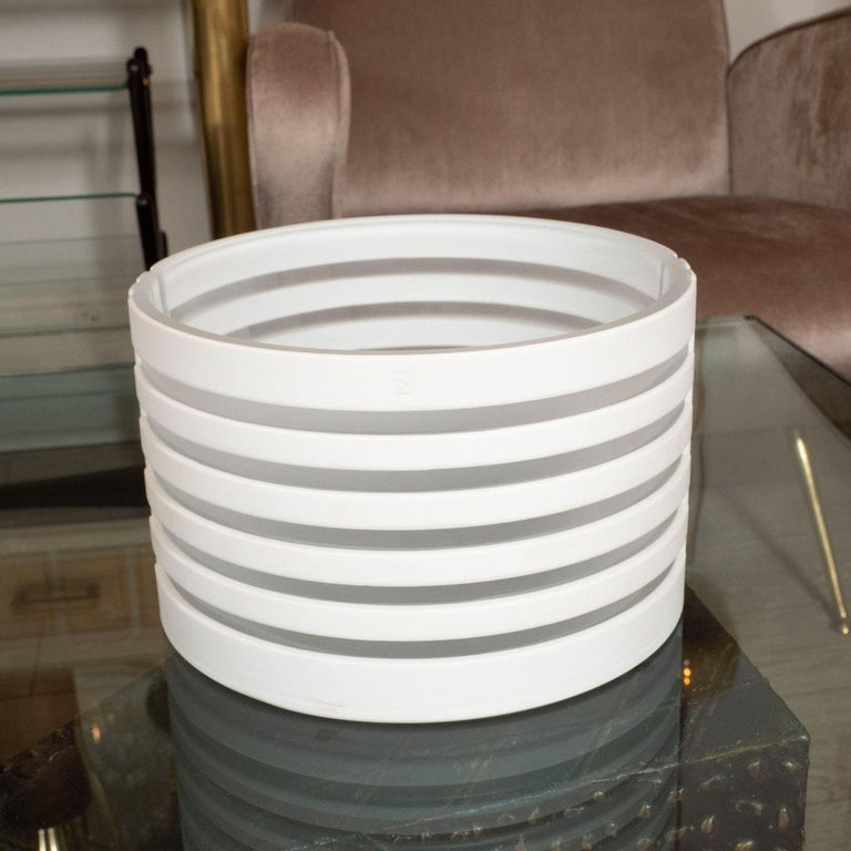 Modern White and Frosted Glass Linear Design Bowl For Sale