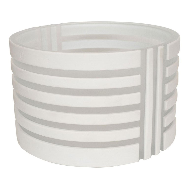 White and Frosted Glass Linear Design Bowl For Sale