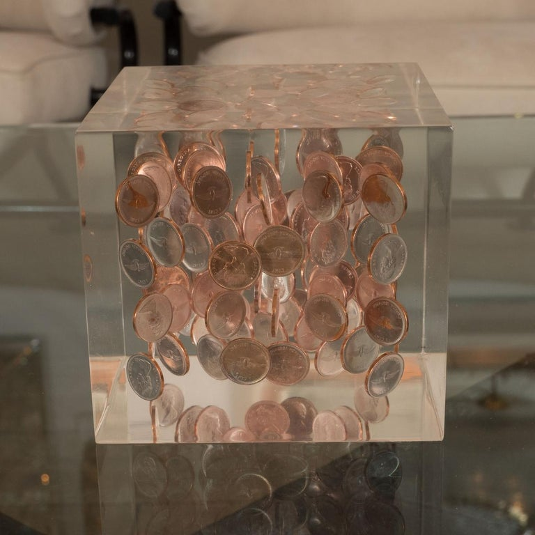 Mid-Century Modern Cubic Lucite Coinage Sculpture For Sale