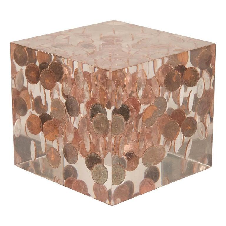 Cubic Lucite Coinage Sculpture For Sale