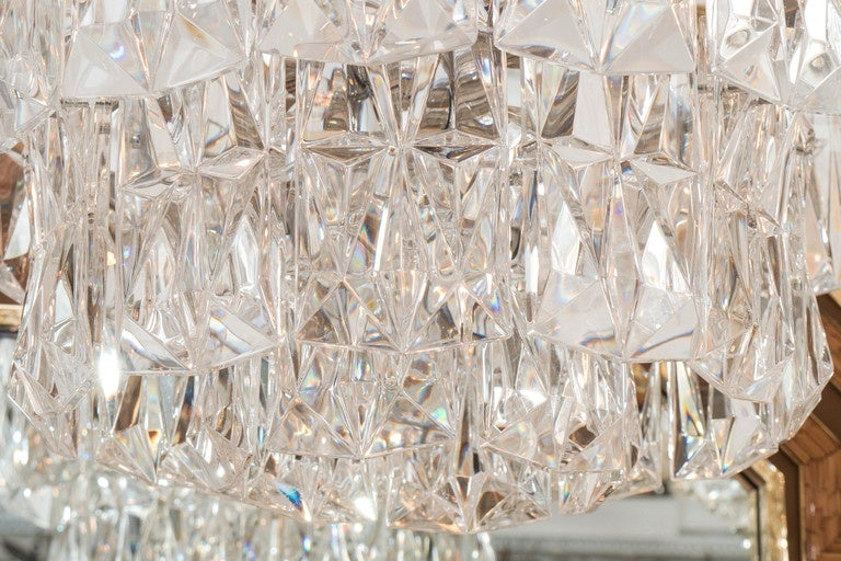 Mid-20th Century Three-Tier Facet-Cut Crystal Chandeliers For Sale