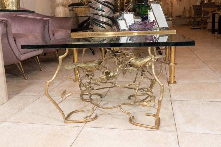 Square brass and glass aviary themed coffee table at 1stdibs for Themed coffee tables