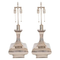 Pair of Chrome Mod Vase Form Table Lamps