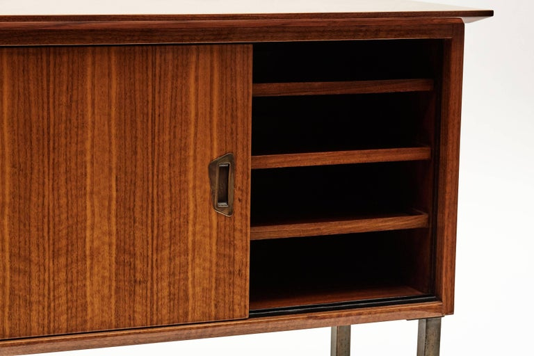 French Maison Leleu, Cabinet with Dual Sliding Doors, France, C. 1960 For Sale