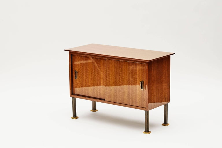 20th Century Maison Leleu, Cabinet with Dual Sliding Doors, France, C. 1960 For Sale