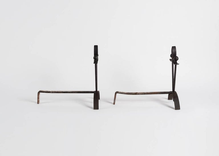 French Pair of Tapered Andirons, France For Sale