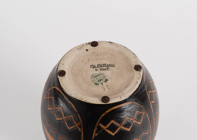 Belgian Charles Catteau for Boch Frères, Art Deco Vase, Belgium, 1925 For Sale