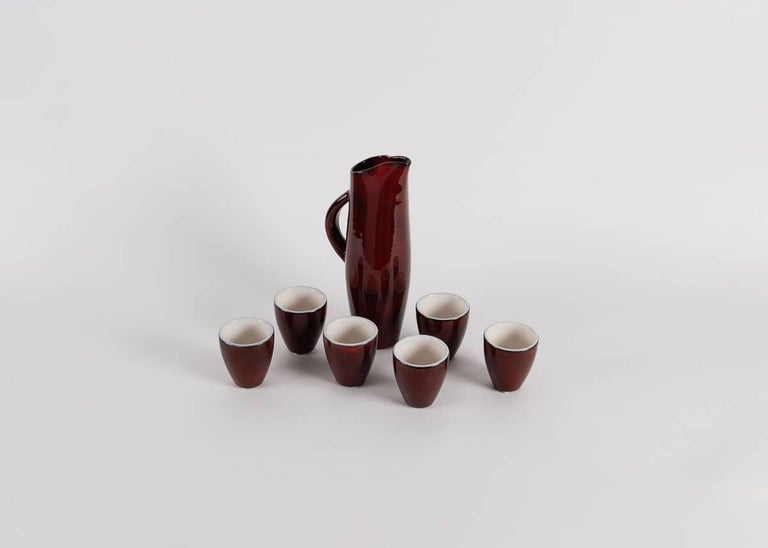 Pol Chambost, Pitcher and Seven Cups, France, 1972 For Sale 2