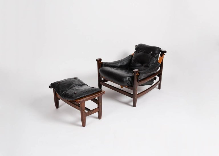Jean Gillon, Leather Chair and Ottoman, Brazil, circa 1960s In Good Condition For Sale In New York, NY