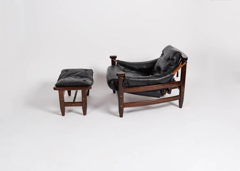 20th Century Jean Gillon, Leather Chair and Ottoman, Brazil, circa 1960s For Sale