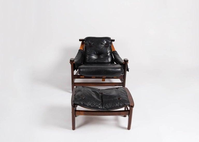 Brazilian Jean Gillon, Leather Chair and Ottoman, Brazil, circa 1960s For Sale