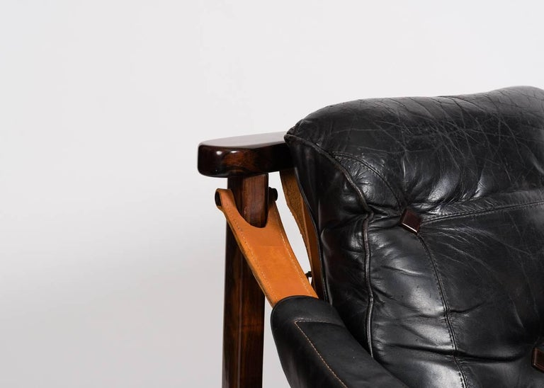 Mid-Century Modern Jean Gillon, Leather Chair and Ottoman, Brazil, circa 1960s For Sale