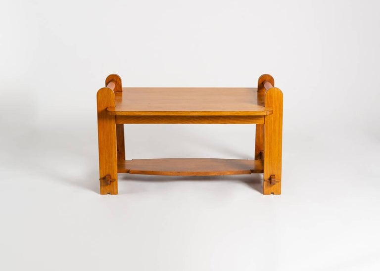 Oak In the Manner of Maurice Pré, Rectangular Coffee Table, France, Mid-20th Century For Sale