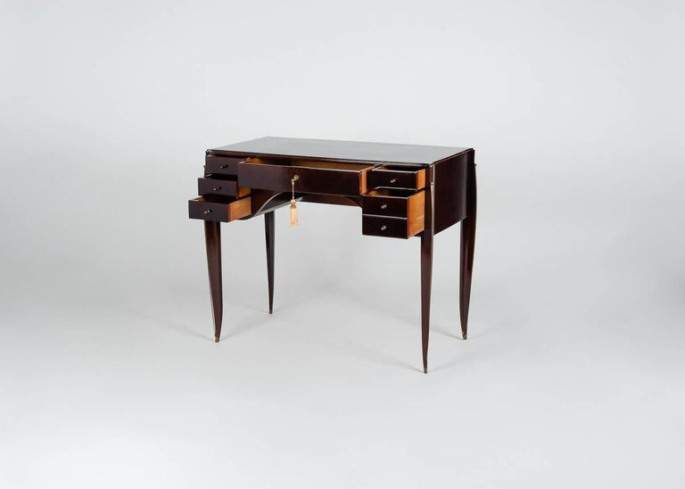 Lacquered Alfred Porteneuve, Art Deco Writing Table and Chair, France, circa 1935 For Sale