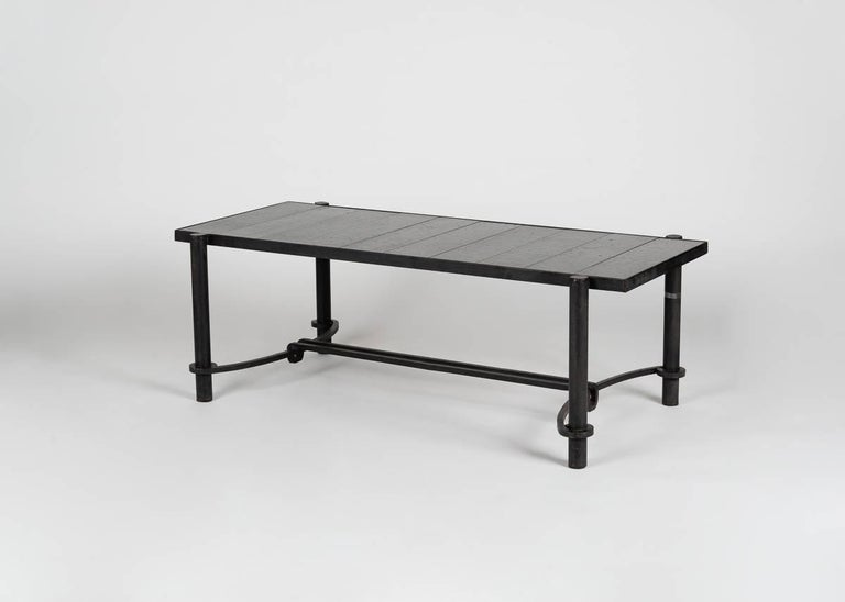 Midcentury rectangular coffee table by Jacques Adnet for Compagnie Des Arts Francais.