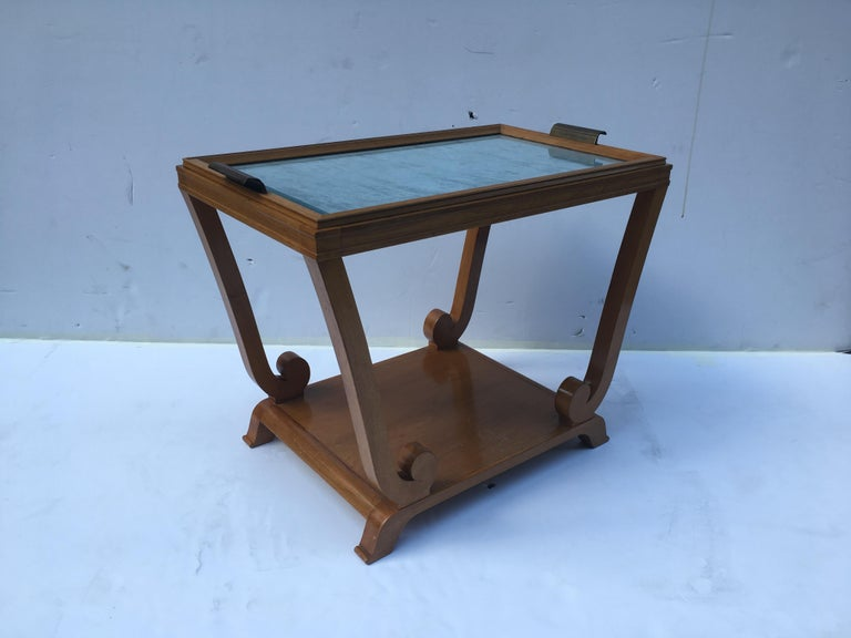 French Jules Leleu, Art Deco, Two-Tiered Side Table with Removable Tray, France For Sale