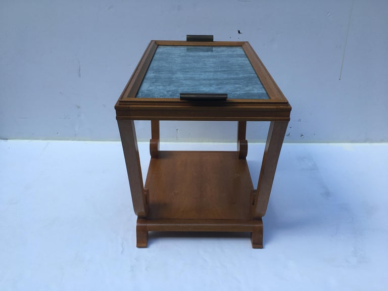 Jules Leleu, Art Deco, Two-Tiered Side Table with Removable Tray, France In Good Condition For Sale In New York, NY