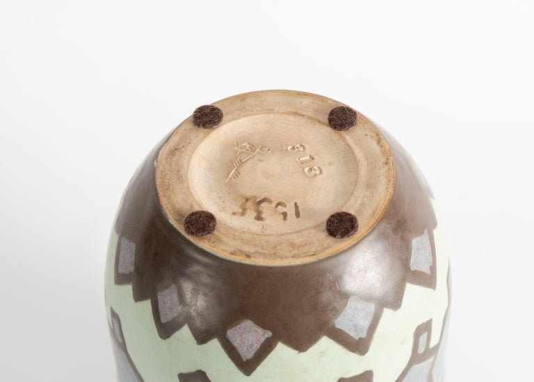 French Villeroy & Boch, Art Deco Stoneware Vase, Luxembourg, circa 1930 For Sale