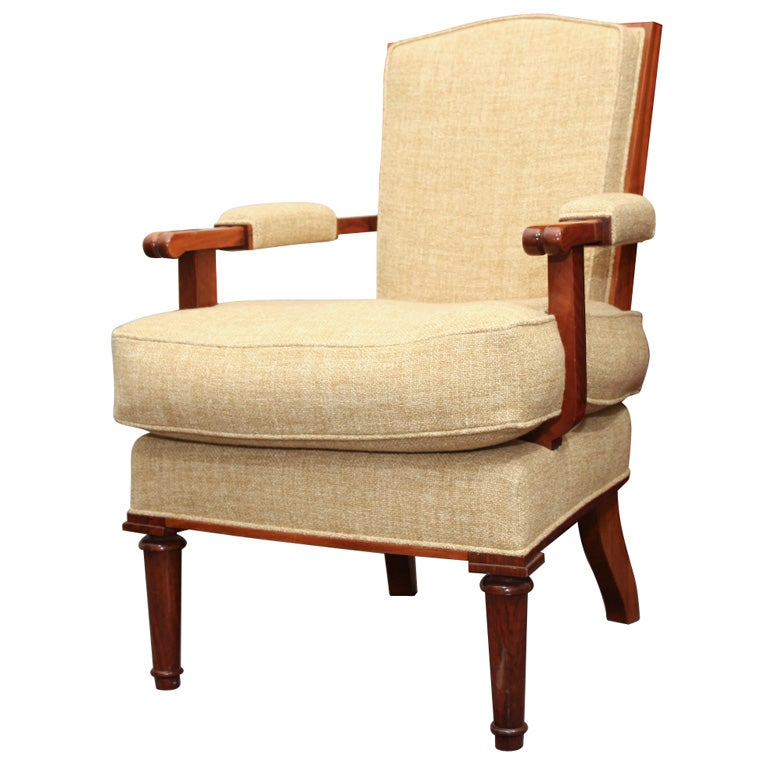 Jules Leleu, Art Deco Walnut Armchair, France, circa 1948