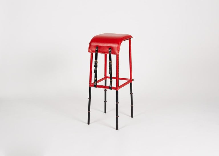 French Jacques Adnet Leather Bar Stool, France, circa 1950 For Sale