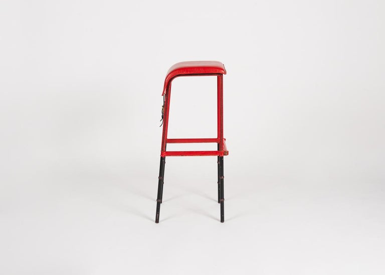 Cast Jacques Adnet Leather Bar Stool, France, circa 1950 For Sale