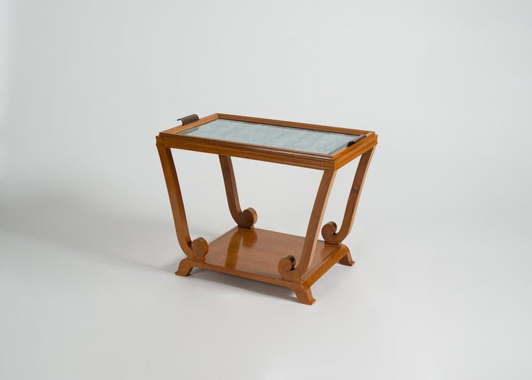 Brass Jules Leleu, Art Deco, Two-Tiered Side Table with Removable Tray, France For Sale