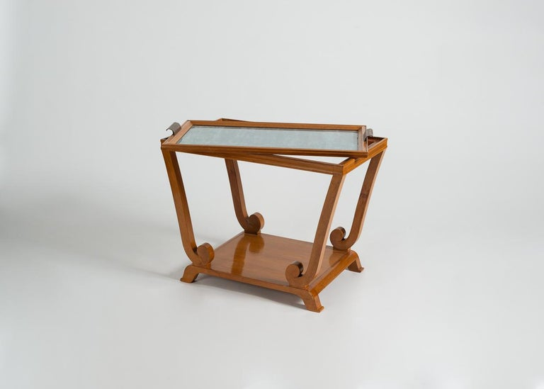 Mid-20th Century Jules Leleu, Art Deco, Two-Tiered Side Table with Removable Tray, France For Sale
