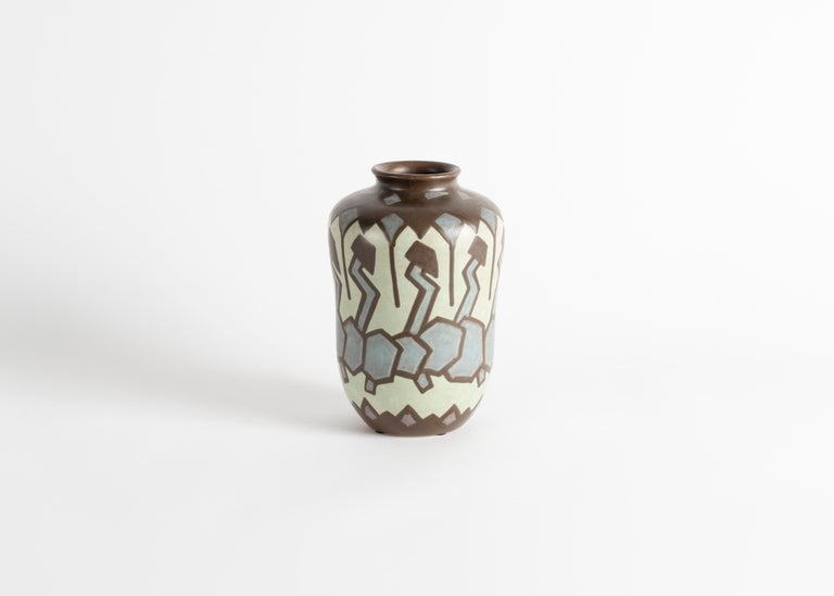 Glazed Villeroy & Boch, Art Deco Stoneware Vase, Luxembourg, circa 1930 For Sale