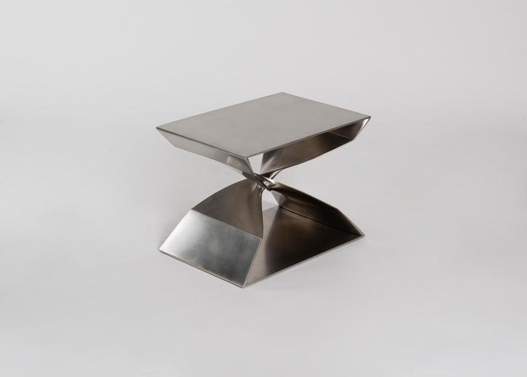 Brushed Carol Egan Steel Stool, USA, 2017 For Sale