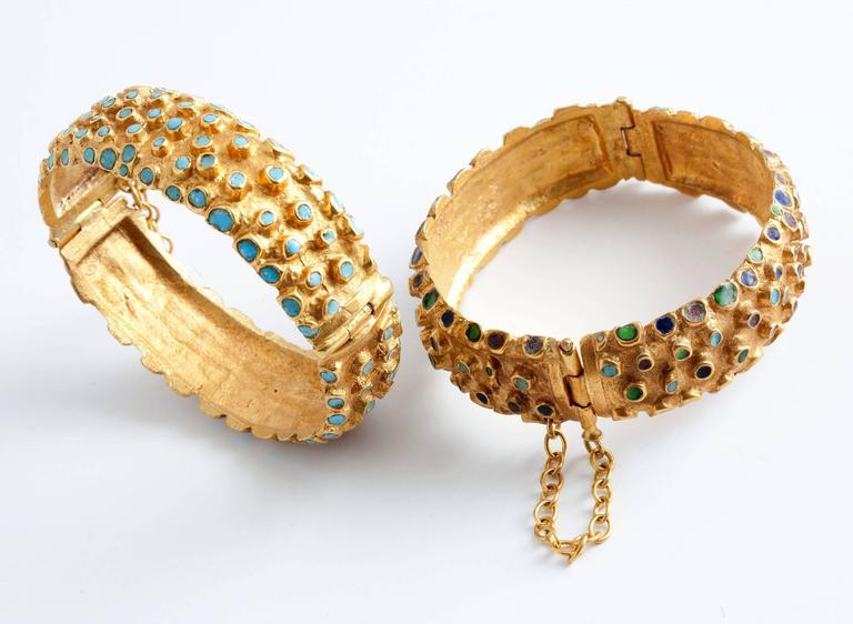 Gilt bronze and enamel Hedgehog bracelet by Line Vautrin.  Stamped: LV.