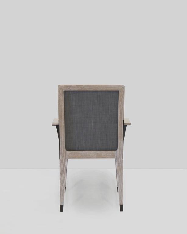 Contemporary Mark Zeff, Bronze and Limed Oak Dining Armchair, USA, 2015 For Sale