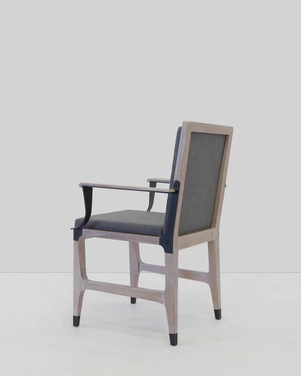American Mark Zeff, Bronze and Limed Oak Dining Armchair, USA, 2015 For Sale
