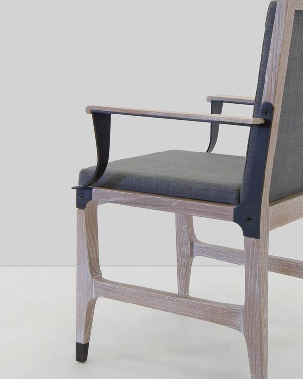 Mark Zeff, Bronze and Limed Oak Dining Armchair, USA, 2015 In Excellent Condition For Sale In New York, NY