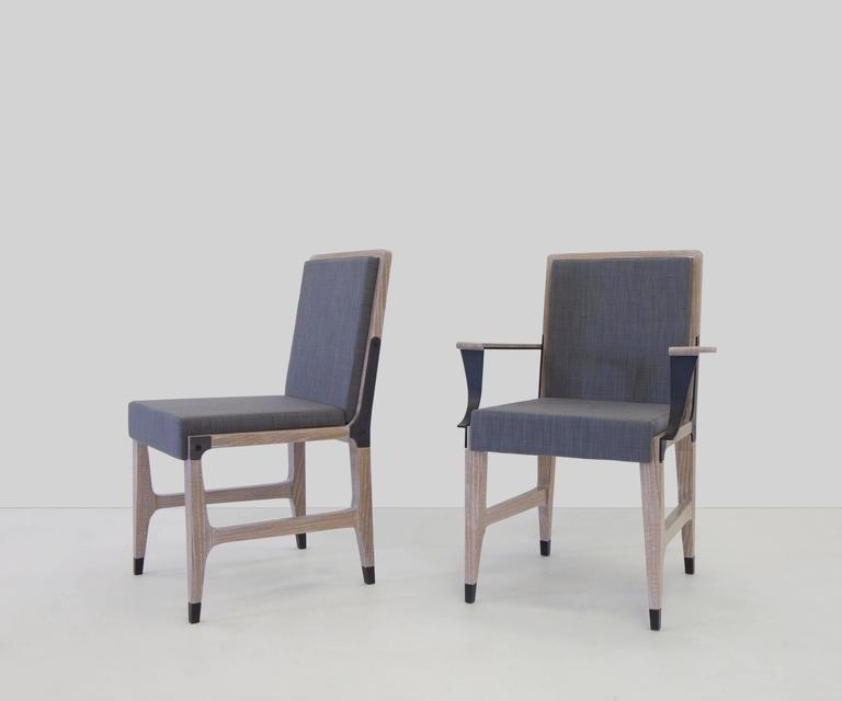 Mark Zeff, Bronze and Limed Oak Dining Armchair, USA, 2015 For Sale 1