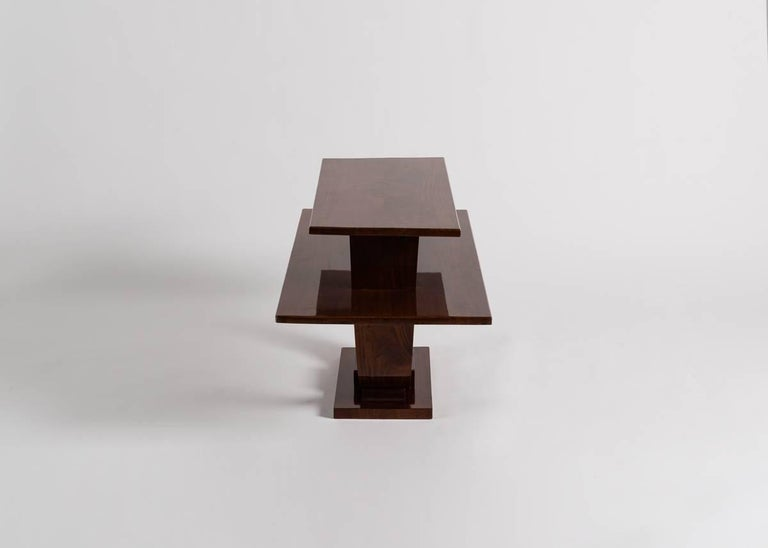 French Jules Leleu, Mahogany Side Table, France, C. 1930 For Sale
