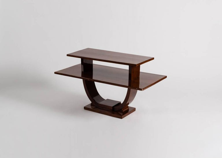 Art Deco Jules Leleu, Mahogany Side Table, France, C. 1930 For Sale