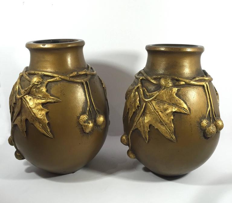 Laurent & Desrousseaux, Pair of Art Nouveau vases, France, 1900 In Good Condition For Sale In New York, NY