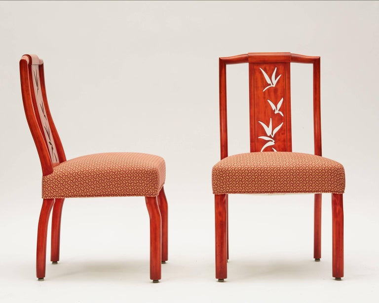James Mont, Pair of Lacquer Dining Chairs, United States, circa 1950 2