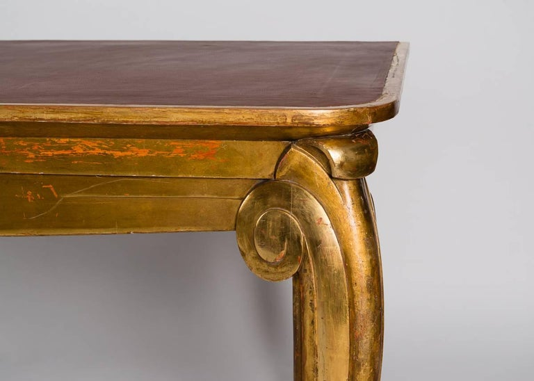 Art Deco Louis Süe et André Mare, Large-scale Gilt Console Table, France, C. 1920 For Sale